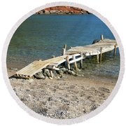 Old Wooden Dock Round Beach Towel