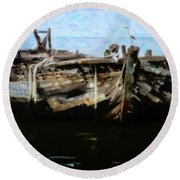 Old Wooden Fishing Boat Round Beach Towel