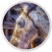 Old Wooden Horse Head Round Beach Towel