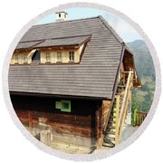 Old Wooden House On Mountain Round Beach Towel