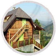Old Wooden House On Mountain Landscape Round Beach Towel