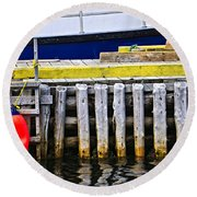 Old Wooden Pier In Newfoundland Round Beach Towel