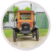 Old Woodie Model T Ford  Round Beach Towel