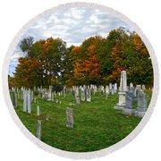 Old Yard Cemetery Stowe Vermont Round Beach Towel