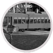 Old Ybor City Trolley Round Beach Towel