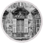 Old Yellow Building With Lace Curtain In Nice, France, Black And Round Beach Towel