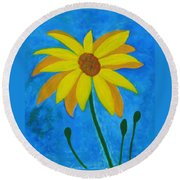 Old Yellow  Round Beach Towel