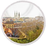 Old Zagreb Panorama In Morning Fog Round Beach Towel