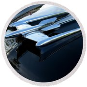 Old's 88 Hood Ornament  Round Beach Towel
