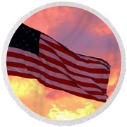 Ole Glory Round Beach Towel