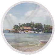 O' Leary's Tiki Bar And Grill On Sarasota Bayfront Round Beach Towel