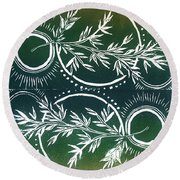 Olive Branch Round Beach Towel