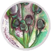 Olive Branches Round Beach Towel