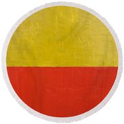 Olive Fire Engine Red Round Beach Towel