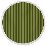 Olive Green Striped Pattern Design Round Beach Towel