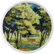 Olive Grove Round Beach Towel