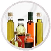Olive Oil,salad Dressing And Vinegar Round Beach Towel
