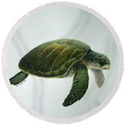 Olive Ridley Turtle Round Beach Towel