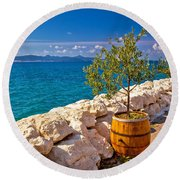 Olive Tree In Barrel By The Sea Round Beach Towel