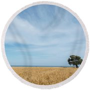 Olive Tree On The Wheat Field  Round Beach Towel