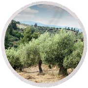 Olive Trees Hill Round Beach Towel