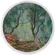 Olive Trees In The Moreno Garden Round Beach Towel