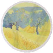 Olive Trees In Tuscany Round Beach Towel by Antonio Ciccone