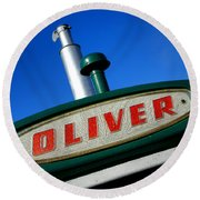 Oliver Tractor Nameplate Round Beach Towel