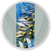 Olives Extract Round Beach Towel
