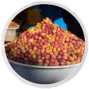 Olives For Sale In Market, Essaouira Round Beach Towel