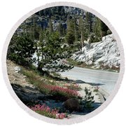 Olmsted Down The Road View Round Beach Towel