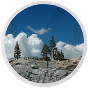 Olmsted Point Pine Rear View Round Beach Towel
