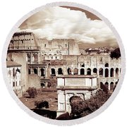 Colosseum From Roman Forums  Round Beach Towel