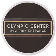Olympic Center 1932 Rink Entrance Round Beach Towel