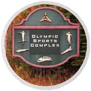 Olympic Complex  Round Beach Towel