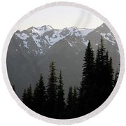 Olympic Mountains Round Beach Towel