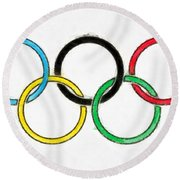 Olympic Rings Pencil Round Beach Towel