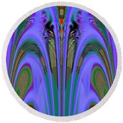 Olympic Torch And Fireworks Fractal 162 Round Beach Towel