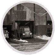 Olyphant Pa Coal Breaker Loading Trucks And Gondola Car Winter 1971 Round Beach Towel