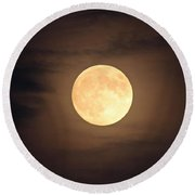 Omaha Moon Through The Clouds Round Beach Towel
