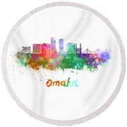 Omaha V2  Skyline In Watercolor  Round Beach Towel