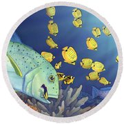 Omilu Bluefin Trevally Round Beach Towel