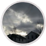Ominous Clouds Round Beach Towel