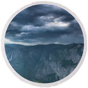 Ominous Clouds Over Glacier Point Round Beach Towel