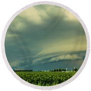 Ominous Nebraska Outflow 001 Round Beach Towel
