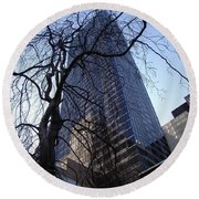 On A Clear Day...moma Courtyard Ny City Round Beach Towel