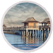 On A Cloudy Day At Naples Pier Round Beach Towel