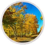 On A Country Road 4 - Paint Round Beach Towel