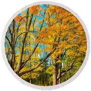 On A Country Road 5 - Paint Round Beach Towel
