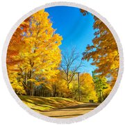 On A Country Road 6 - Paint Round Beach Towel